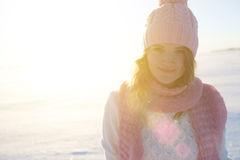 Beautiful girl portrait over winter background. Royalty Free Stock Photos