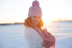 Beautiful girl portrait over winter background. Royalty Free Stock Image