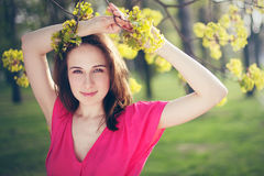 Beautiful girl portrait in park Stock Photo