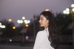 Beautiful girl portrait. Streets at night stock photo