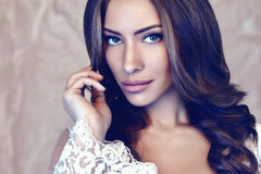 Beautiful girl portrait. Beautiful girl studio color portrait Stock Image