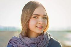 Beautiful girl portrait. Sunny beach Stock Images