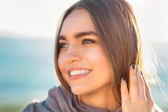 Beautiful girl portrait. Sunny beach Stock Image