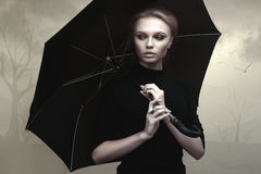 Beautiful girl portrait with umbrella Royalty Free Stock Image