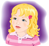 Beautiful girl portrait.Vector. Kid, child, adorable little girl with blond hair and blue eyes royalty free illustration