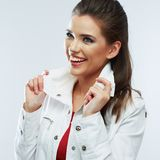 Beautiful girl portrait. White background stock photography