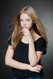 Beautiful girl portrait with windy hair Stock Photography