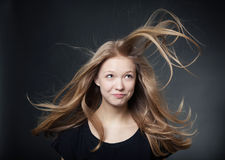 Beautiful girl portrait with windy hair Royalty Free Stock Image