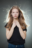 Beautiful girl portrait with windy hair stock photos