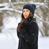 Beautiful girl portrait in winter - outdoor Stock Images