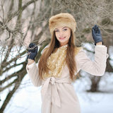 Beautiful girl portrait in winter Royalty Free Stock Photos