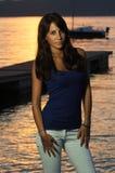 Beautiful girl pose against  sunset light Royalty Free Stock Photo