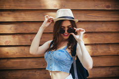 Beautiful girl poses for camera in the city Stock Photography