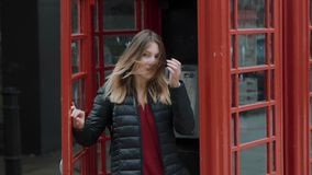 Beautiful girl poses for a photo in the city of London stock footage