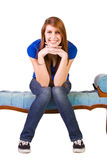 Beautiful Girl Posing on the Antique Couch Royalty Free Stock Image