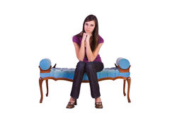 Beautiful Girl Posing on the Antique Couch Royalty Free Stock Images