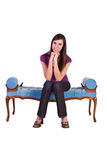 Beautiful Girl Posing on the Antique Couch Stock Photography