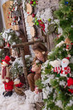 Beautiful girl posing in Christmas decorations Stock Images