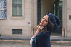 Beautiful girl posing in the city streets Royalty Free Stock Images