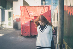 Beautiful girl posing in the city streets Royalty Free Stock Photo