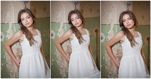 Beautiful girl posing fashion near an old wall Royalty Free Stock Images
