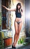 Beautiful girl posing fashion near red brick wall Royalty Free Stock Photos