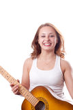 Beautiful girl posing with guitar. #11. Beautiful young girl posing with guitar. #11 stock photo