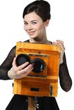 Beautiful girl posing with old camera Royalty Free Stock Photo