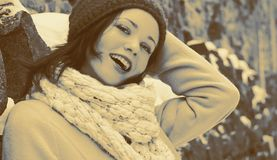 Beautiful girl posing outdoors. Beautiful girl posing smiling outdoors in winter, photo filter adjusted Stock Photography