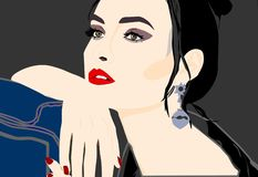 Really beautiful girl posing for photopgrapher royalty free illustration