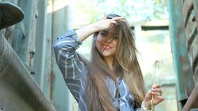Beautiful girl posing stock video