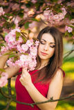Beautiful girl posing to the photographer against the background of blooming pink trees. Spring. Sakura. Stock Photo