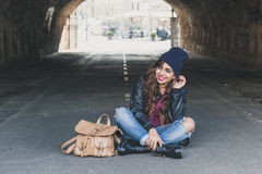 Beautiful girl posing in a tunnel Royalty Free Stock Images