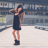 Beautiful girl posing in an urban context Royalty Free Stock Images
