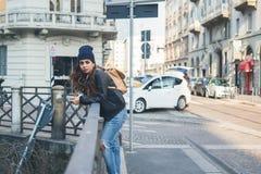 Beautiful girl posing in an urban context Royalty Free Stock Image