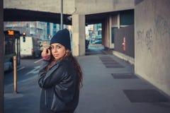 Beautiful girl posing in an urban context Royalty Free Stock Photos