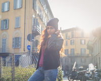 Beautiful girl posing in an urban context Royalty Free Stock Photo