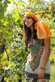 Beautiful girl posing in vineyard Stock Images