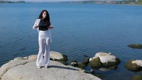 Beautiful Girl Posing, Walk Along The River stock video