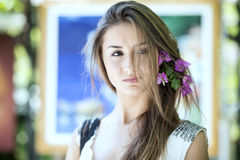 Beautiful girl in Positano on the Amalfi posing in the street Royalty Free Stock Images