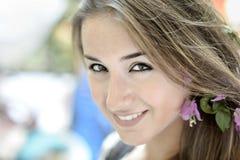 Beautiful girl in Positano on the Amalfi posing in the street Royalty Free Stock Photography