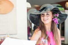 Beautiful girl in Positano on the Amalfi posing in the street Royalty Free Stock Photos