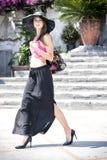 Beautiful girl in Positano on the Amalfi posing in the street Stock Photos