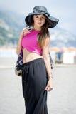 Beautiful girl in Positano on the Amalfi posing in the street Stock Photo