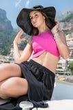Beautiful girl in Positano on the Amalfi posing in the street Stock Images