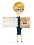 Beautiful girl postman, vector illustration Royalty Free Stock Photo