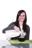 Beautiful Girl Pouring Milk to her Cereal Royalty Free Stock Photos