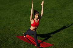 Beautiful girl practicing yoga. sunny day. Woman practices yoga in nature Royalty Free Stock Image