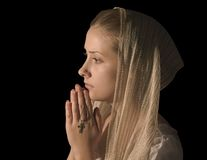 Beautiful girl praying Stock Photo