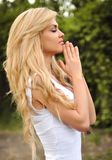 Beautiful girl praying Royalty Free Stock Images